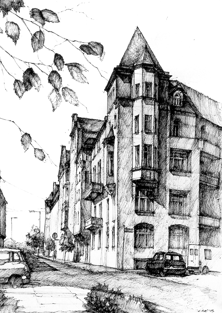 Pencil drawing, architecture, poznan, poland, street
