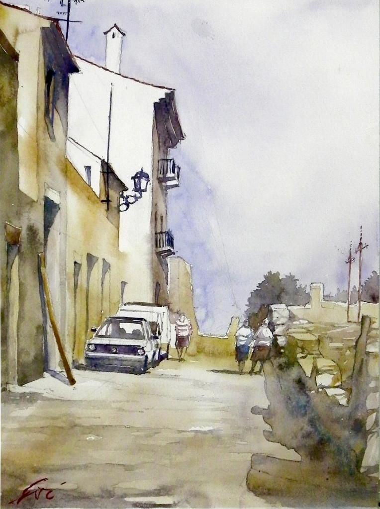 street, watercolour, akwarela, painting, domin, rysunek, malarstwo
