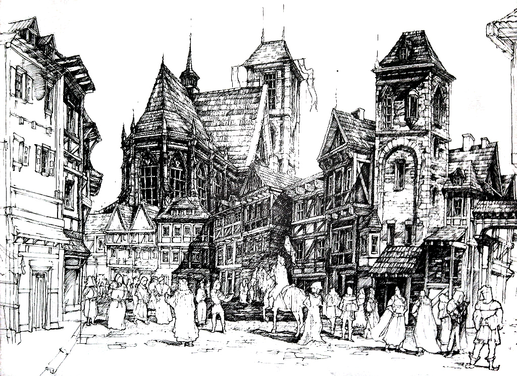 architecture, medieval city, ink drawing, pen drawing, gothic cathedral