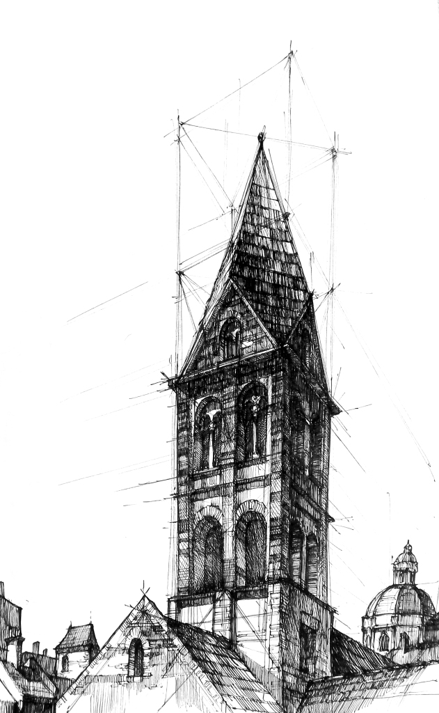 Ink drawing, pen drawing, architecture, black and white, romanesque