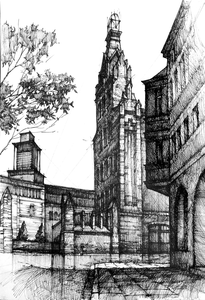 Drawing, architecture, ink, poland