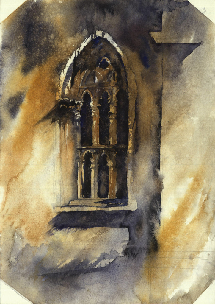 watercolour, window, architecture, painting, akwarela