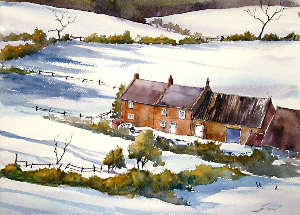 watercolour, painting, winter, snow, village, akwarela