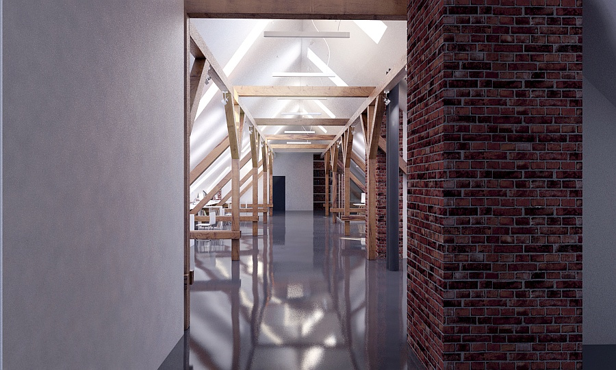 Hospital attic adaptation in Wolsztyn. Visualization, architecture, interior design, project