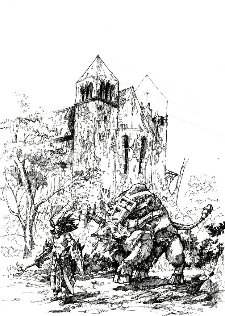Ink drawing, architecture, fantasy, monster, dragon, warrior, rysunek, architektura