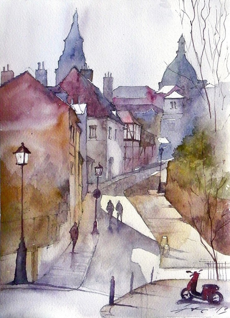 watercolour, painting, architecture, city, street, akwarela, kurs rysunku